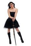 Beautiful woman with Saumurai sword Royalty Free Stock Images