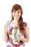 Beautiful woman saving money. On white background Stock Photos