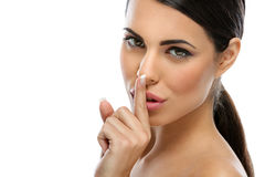 Beautiful woman saying shh Royalty Free Stock Photo