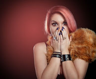 Beautiful woman scared covering mouth with hands Stock Photos