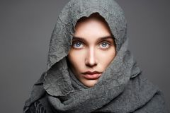 Beautiful woman in scarf.arabian fashion Stock Images
