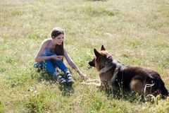 Beautiful woman schools a German Shepherd Dog friend royalty free stock photography