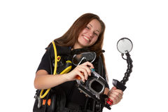 Beautiful woman scuba diver. With photocamera on a white background Royalty Free Stock Photography