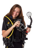 Beautiful woman scuba diver. With photocamera on a white background Stock Photo
