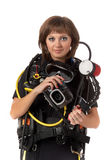 Beautiful woman scuba diver. With photocamera on a white background Stock Images