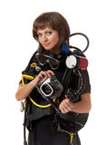 Beautiful woman scuba diver. With photocamera on a white background Royalty Free Stock Photos