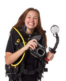 Beautiful woman scuba diver. With photocamera on a white background Stock Image