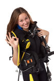 Beautiful woman scuba diver. Shows sign OK on a white background Stock Image