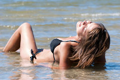 Beautiful woman in the sea. Royalty Free Stock Images