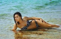 Beautiful woman in the sea Royalty Free Stock Photos
