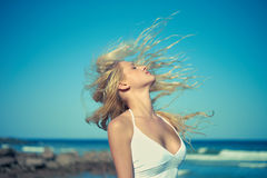 Beautiful woman at sea Royalty Free Stock Photo