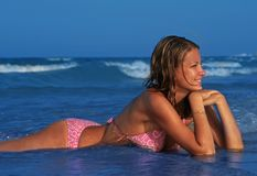 Beautiful woman in sea Stock Photos
