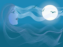 Beautiful woman, sea moonlight. Beautiful seascape with a woman looking at the moon with long hair making waves and clouds on the sea and the sky Royalty Free Stock Photography