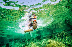 Beautiful woman in the sea Stock Photo