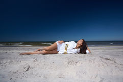 Beautiful Woman at seaside Royalty Free Stock Photography