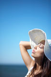 Beautiful Woman at seaside Royalty Free Stock Photo