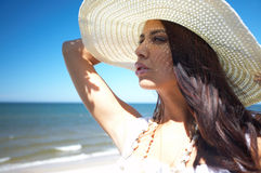 Beautiful Woman at seaside Royalty Free Stock Images