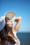 Beautiful Woman at seaside Royalty Free Stock Photos