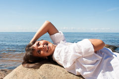 Beautiful woman at the seaside on Baltic sea Stock Image
