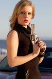 Beautiful Woman Secret Agent Stock Image