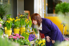 Beautiful woman selecting flowers at flower market Royalty Free Stock Images