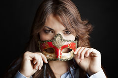 Beautiful woman semi masked Royalty Free Stock Image