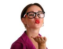 Beautiful woman sends kiss Royalty Free Stock Photography