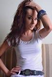 Beautiful woman, sensual face, speaking look and makeup Stock Image