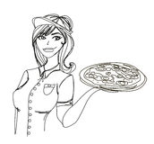 Beautiful woman serving pizza Royalty Free Stock Photography