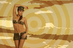 Beautiful woman in sexy army look Royalty Free Stock Photos