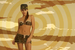 Beautiful woman in sexy army look Stock Image