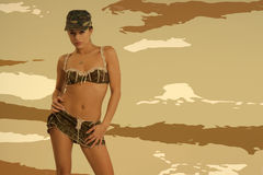 Beautiful woman in sexy army look Royalty Free Stock Photography
