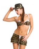 Beautiful woman in sexy army look Stock Images