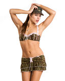 Beautiful woman in sexy army look Royalty Free Stock Images