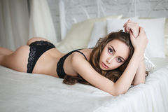 Beautiful woman in a sexy black lingerie Royalty Free Stock Photo