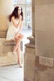 Beautiful woman in dress outdoor in summer Royalty Free Stock Images