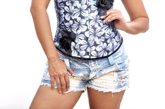 Beautiful woman sexy overbust mini shorts Stock Photos