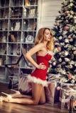 Beautiful woman sexy Santa Claus decorate Christmas tree Stock Photo