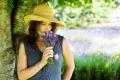 Beautiful Woman in the shade of a tree Stock Photography