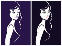 Beautiful woman shadow portrait Stock Image