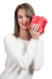 Beautiful Woman Shaking Gift Royalty Free Stock Photos