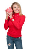 Beautiful Woman Shaking Gift Stock Photography
