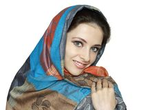 Beautiful woman with shawl on head Stock Photos