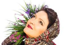 Beautiful woman in shawl Stock Image