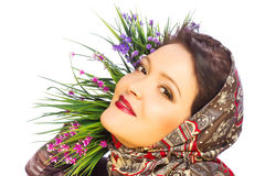 Beautiful woman in shawl Royalty Free Stock Images