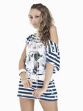 Beautiful woman with sheepish expressio. Expression shy of beautiful model studio Royalty Free Stock Photos