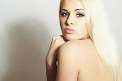 Beautiful Woman with Shine Hair.Sexy Blond Girl Royalty Free Stock Images