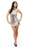 Beautiful woman in shiny sexy dress Stock Images