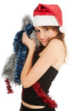 Beautiful woman with shiny tinsel Stock Image