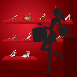 Beautiful woman in shoe shop. Illustration Stock Photography
